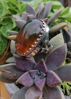 Amber and silver ring $1,300 pesos plus shipping (mas envio)