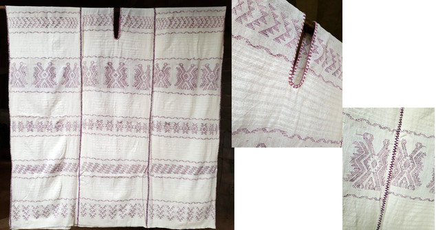 Endangered: White Brocade with Purpura Huipil $9,000 pesos plus shipping (mas envio)