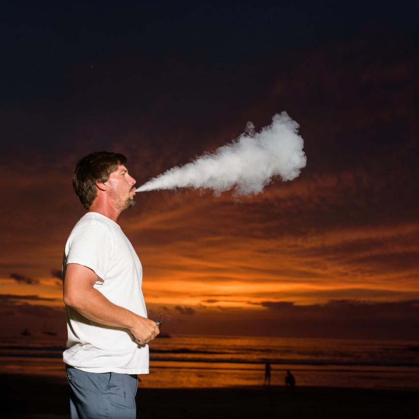 Blowing smoke at Tamarindo Diria