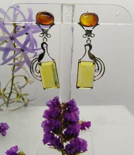 Amber Rectangles & Silver Earrings $750 pesos plus shipping (mas envio)