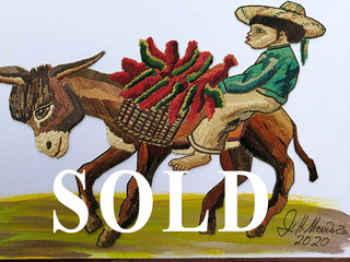 SOLD-Boy & Donkey Straw Painting $1,500 pesos plus shipping (mas envio)