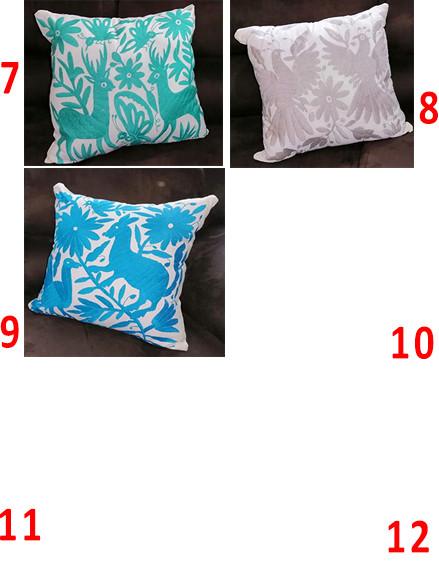 Embroidered pillows $1,100 pair/par; $625 pesos cu/each