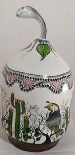 """Hand-painted Gourd """"Serpent in Desert Jewelry Container"""" $5700 pesos plus shipping (mas envio)"""