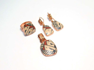 Set: Earrings, Ring & Pendant in Copper featuring Mata Ortiz Pottery $1560 pesos plus shipping (mas envio)