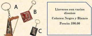 Key rings (specify design) $90 pesos plus shipping (mas envio)