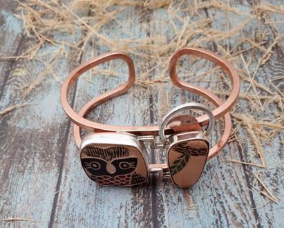 Double Silver Bracelet with Mata Ortiz Pottery $1,600 pesos plus shipping (mas envio)
