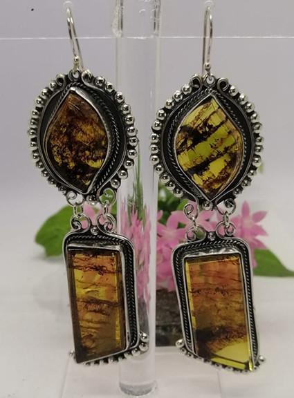 Baroque amber earrings set in 925 sterling silver $1,950 pesos plus shipping (mas envio)