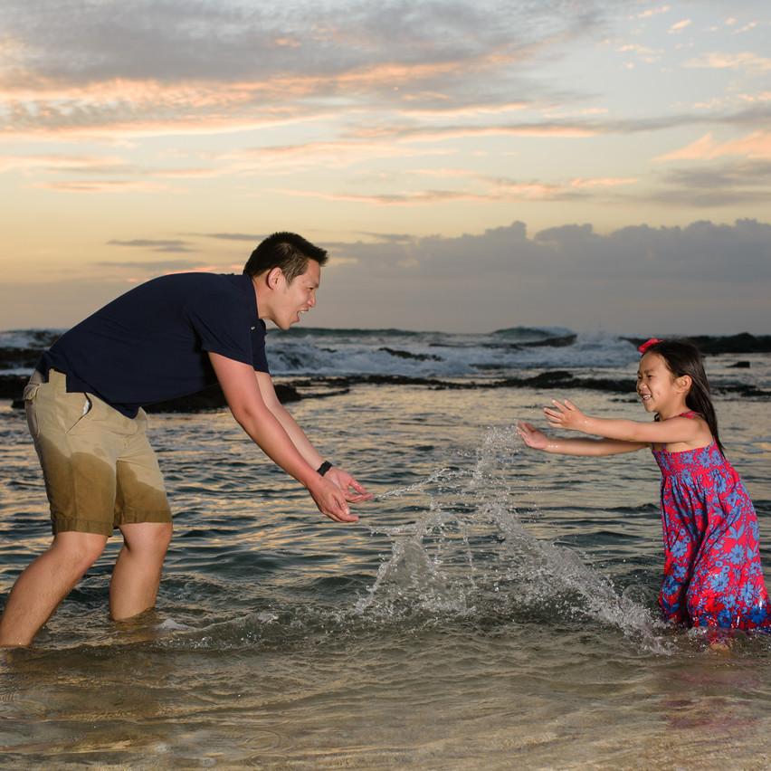 Splashing in the waves at Langosta Beach