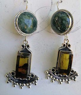 Amber & Jade Silver Earrings $1650 pesos plus shipping (mas envio)