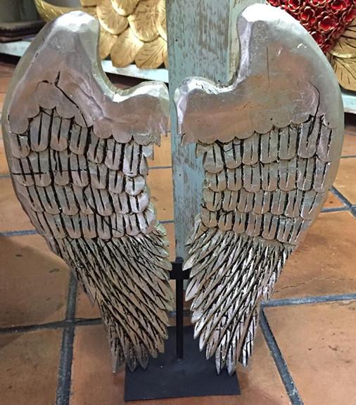 Silver-leaf Carved Wood Wings $1100 pesos plus shipping (mas envio)