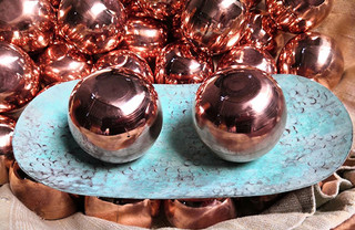 Beautiful hand-crafted copper balls and/or copper dish $150 pesos each plus shipping (mas envio)