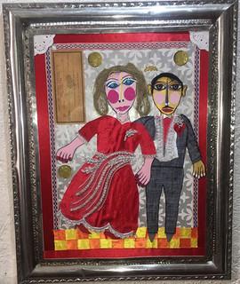 """""""Cheque al Portador"""" Collage with Tin Frame $4000 plus shipping (mas envio)"""