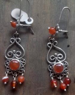 Silver earrings with cornelia agates $1250 pesos plus shipping (mas envio)
