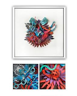 """THE LOVERS"" Papercut Art $3,900 pesos plus shipping (mas envio)"