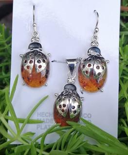 Amber earring & pendant set in 925 sterling silver $750 pesos plus shipping (mas envio)