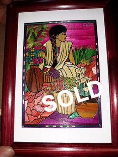 "SOLD-""Girl with Flowers"" Popotillo $950 pesos plus shipping (mas envio)"