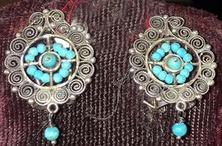 """Button"" Earrings Turquoise & Silver $980 pesos plus shipping (mas envio)"