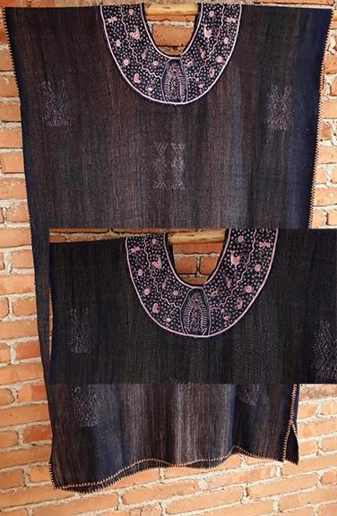 Endangered: Indigo Huipil with coyuchi cotton weft & purpura snail embroidered collar $5,000 pesos plus shipping (mas envio)