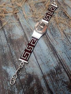 Silver Bracelet with Mata Ortiz Pottery $2,100 pesos plus shipping (mas envio)
