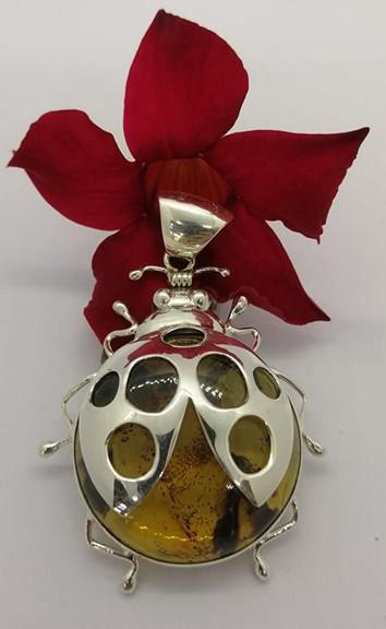 """Catarina"" amber pendant set in 925 sterling silver $1,750 pesos plus shipping (mas envio)"