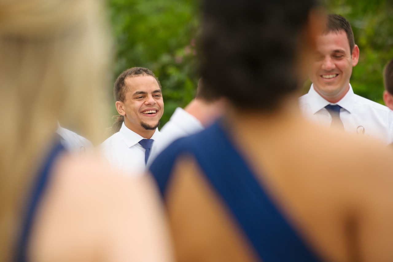 The groomsmen and bridesmaids at Villa Tranquila in Hacienda Pinilla
