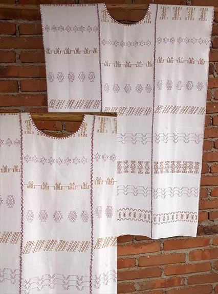 Endangered: White 3-canvas Huipil with cotton coyuchi & purpura snail brocade $5,000 pesos plus shipping (mas envio)