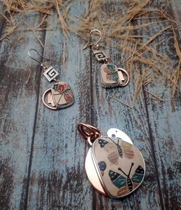 Silver & Copper with Mata Ortiz Pottery Set: Earrings & Pendant with Choker  $1,630 pesos plus shipping (mas envio)