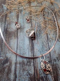 Silver Earrings, Ring, Pendant & Necklace $5,005 pesos plus shipping (mas envio)