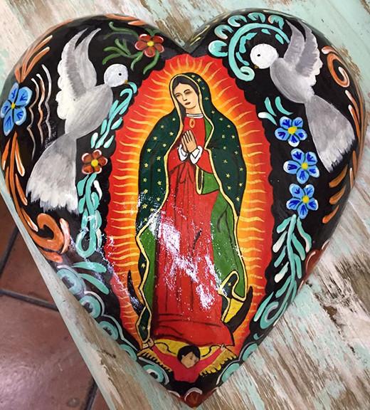 Hand-painted Wood Heart of Virgin of Guadalupe $950 pesos plus shipping (mas envio)