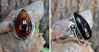 Red amber ring Size 7 set in silver $____ pesos plus shipping (mas envio)