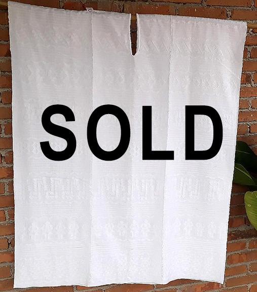 SOLD--White Brocade Huipil $8,000 pesos plus shipping (mas envio)