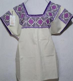 Huipil with rose/purple embroidery $1400 pesos plus shipping (mas envio)