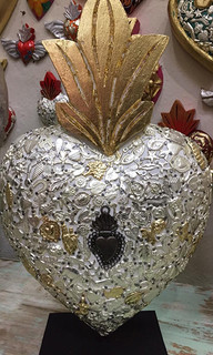 Wood Heart Embellished with Milagros $1800 pesos plus shipping (mas envio)
