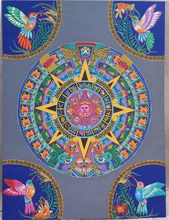 Aztec Calendar with 4 Good Luck Hummingbirds $7,000 pesos plus shipping (mas envio)