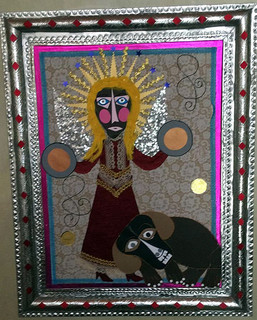 """Angel Tocando Platillos""  Collage with Tin Frame $4000 plus shipping (mas envio)"