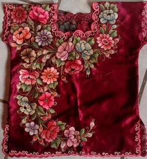 Burgundy Embroidered Blouse $650 pesos plus shipping (mas envio)