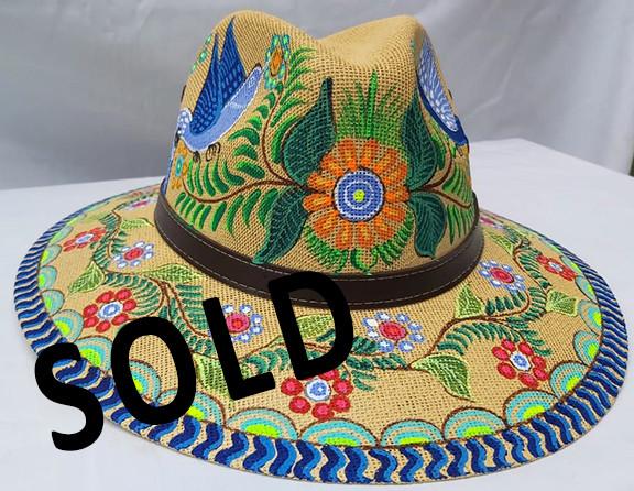 SOLD--Hand-painted Hat $350 pesos plus shipping (mas envio)