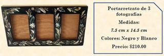 Wood inlaid w/abalone 3-photo picture frame $210 pesos plus shipping (mas envio)