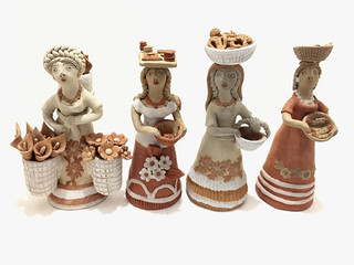 """Artist: Alicia Leticia Garcí Blanco — """"Saleswomen"""" (4 pieces) $1,000 pesos plus shipping (mas envio)"""