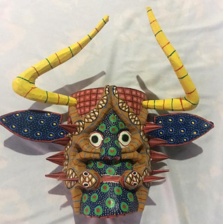 Hand-carved wood mask $700 pesos plus shipping (mas envio)