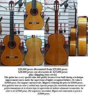 Special guitar reduced from $25,000 to $20,000 pesos plus shipping (mas envio)
