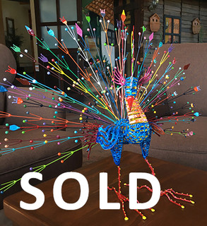 SOLD-Metal peacock alebrije $4,850 pesos plus shipping (mas envio)