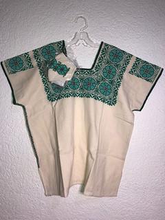 Josefina López Silva Huipil and matching maskwith green/black embroidery $1750 pesos plus shipping (mas envio)