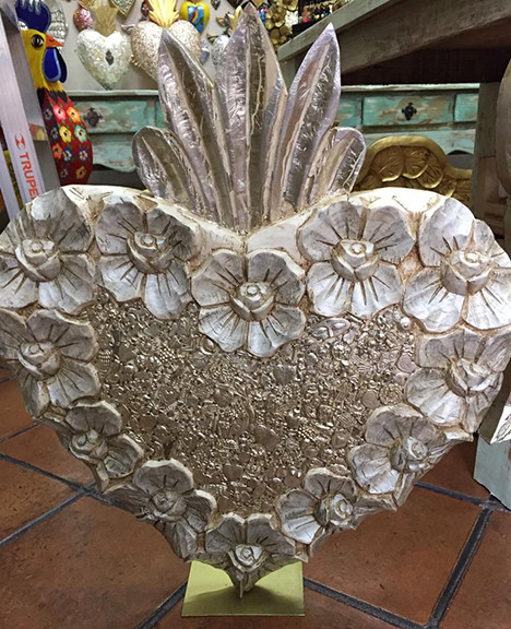 Wood Heart Embellished with Milagros $1800 pesos plus shipping (mas envio) $4200 pesos plus shipping (mas envio)