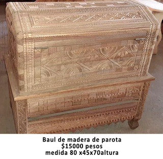 Baul/chest of hand-carved parota wood $15,000 pesos plus shipping (mas envio)