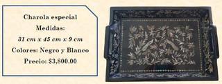 """Wood inlaid w/abalone """"special"""" tray $3,800 pesos plus shipping (mas envio)"""