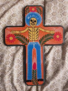 La Cruz del Esqueleto (skeleton cross) $700 pesos plus shipping (mas envio)