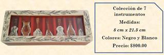 Wood inlaid w/abalone 7 mini-musical instruments $800 pesos plus shipping (mas envio)