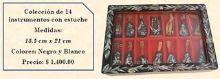 Wood inlaid w/abalone 14 mini-musical instruments $1400 pesos plus shipping (mas envio)