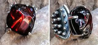 Red amber ring set in 925 sterling silver $1,250 pesos plus shipping (mas envio)